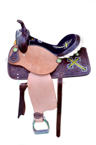Western Brown Rough Out Hand Carved Barrel Racer Saddle with Lime Green Embroidered Cross By Aledo Saddlery