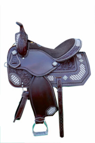 Western Light Brown Leather Hand Carved Barrel Racer Saddle with Beaded Inlay By Aledo Saddlery