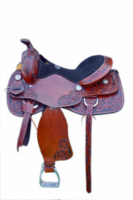 Western Tan Leather Hand Carved Pleasure Trail Saddle with Black Paint Inlay By Aledo Saddlery