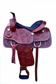 Western Dark Brown Leather Hand Carved Roper Ranch Saddle By Aledo Saddlery