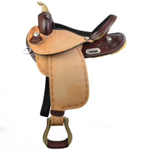 Western  Brown & Rough Out Leather Barrel Racer Hand Tooled Saddle By Aledo Saddlery