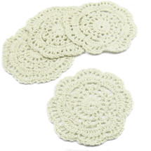 kilofly Small Crochet Cotton Lace Coasters Doilies Pack Set, 4pc, Round, 4 inch