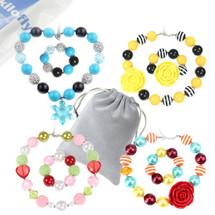 kilofly Princess Party Favor Jewelry Value Pack, Necklace & Bracelet, 4 Sets