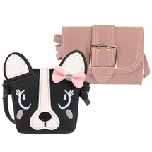 kilofly 2pc Little Girls Cute Dog Handbag Shoulder Bag Crossbody Purse Combo Set