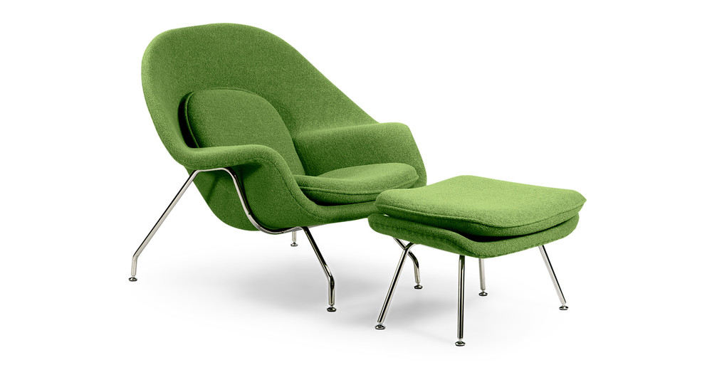 womb chair ottoman apple green kardiel. Black Bedroom Furniture Sets. Home Design Ideas