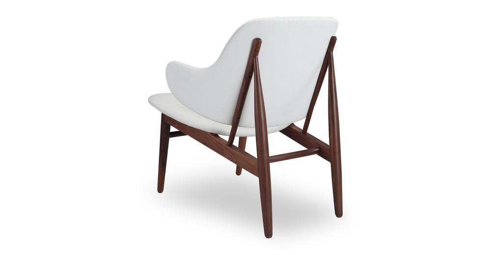 ... Larsen Shell Chair, White Italian Leather/Walnut ...