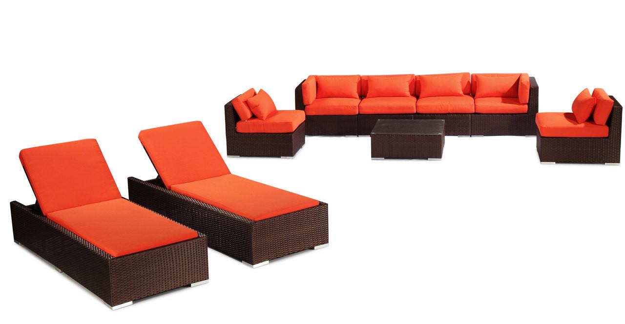 maui 9-pc patio set, espresso wicker/orange - kardiel