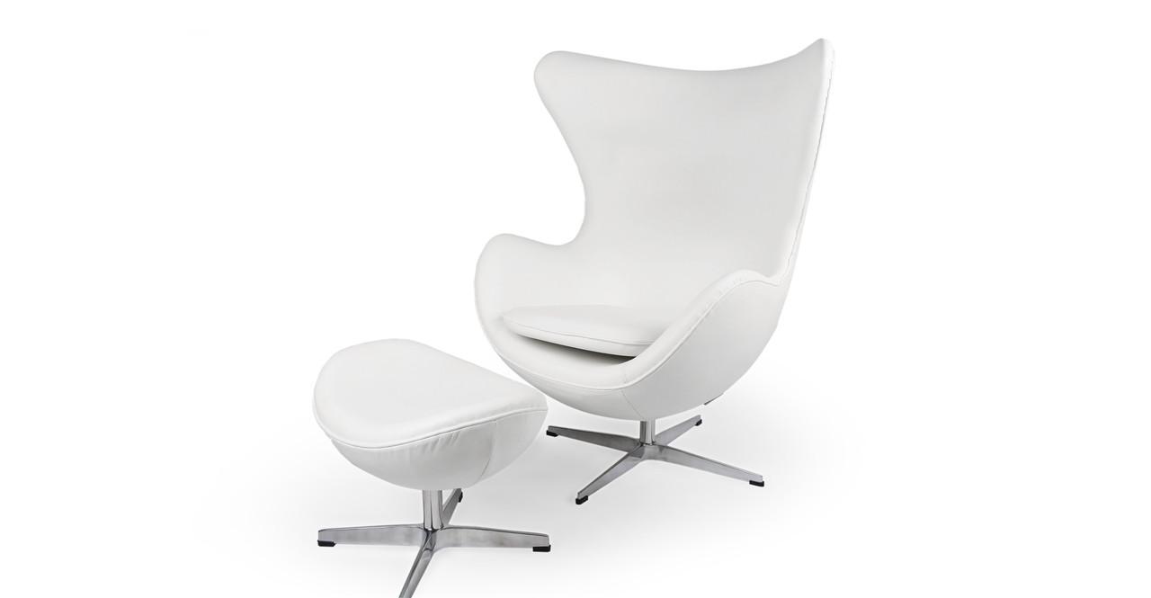 Amoeba Chair U0026 Ottoman, Cream White Premium Leather