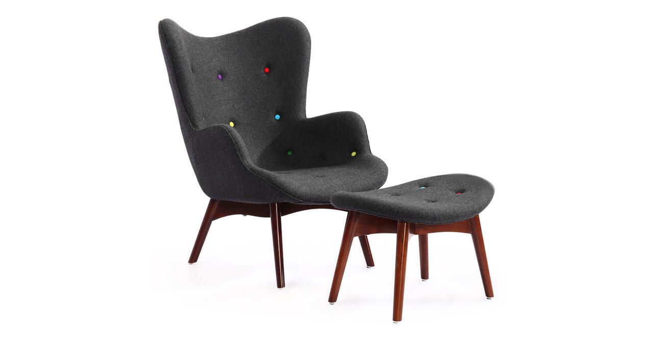 Contour Chair U0026 Ottoman, Charcoal/Rainbow Buttons
