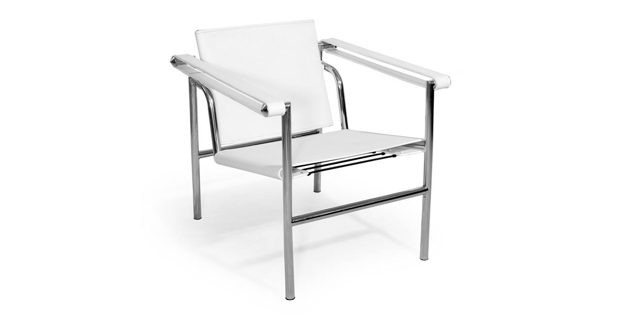 basculant sling chair white leather