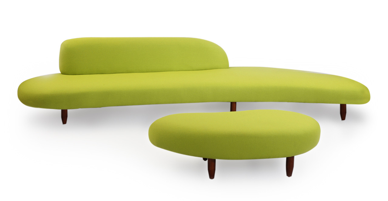 Kidney Bean Sofa Amp Ottoman Lime Green Kardiel