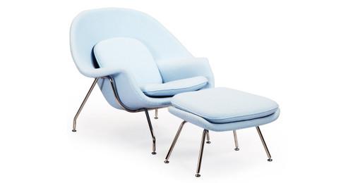 womb chair u0026 ottoman baby blue