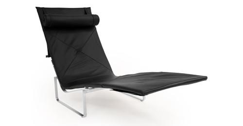 pk24 lounge chair black premium leather