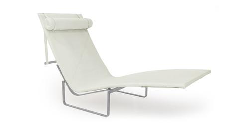 pk24 lounge chair arctic white premium leather