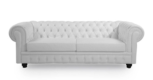 Chesterfied Sofa, Arctic White Premium Leather