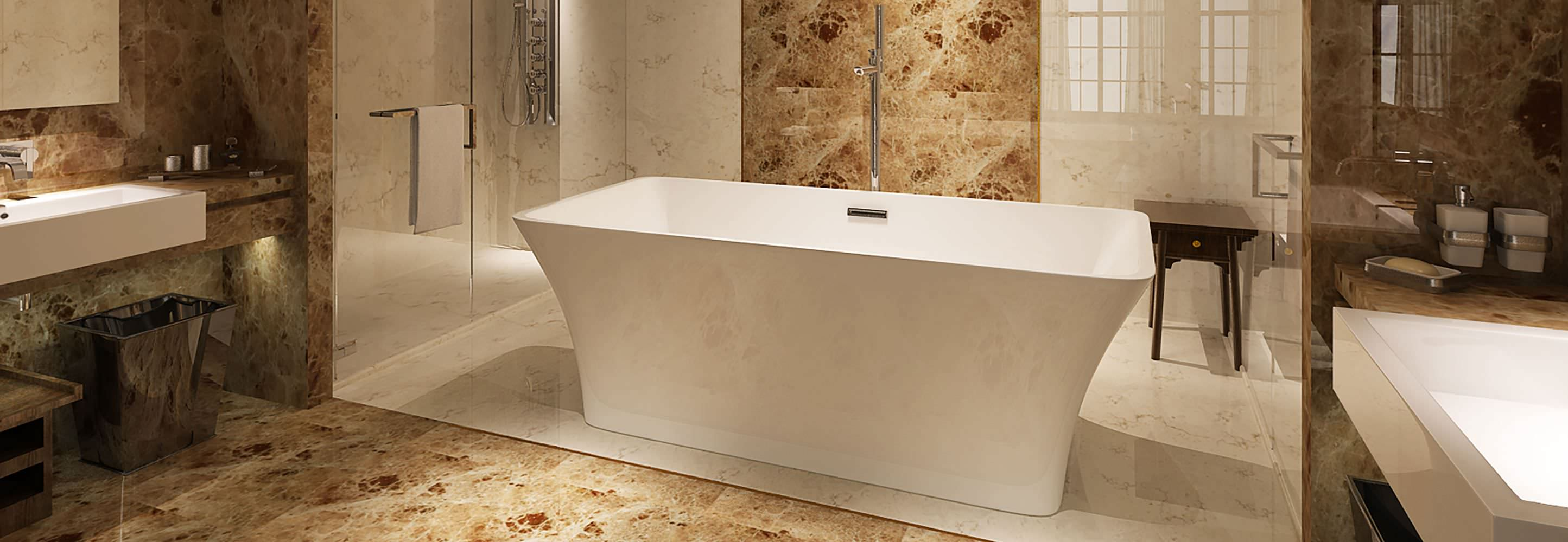 HelixBath Parva Freestanding Pedestal Modern Tub