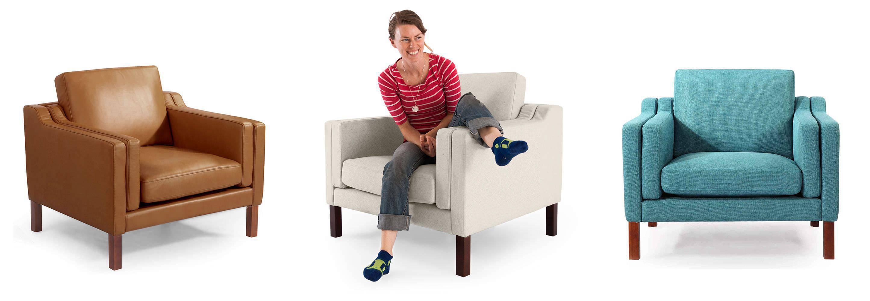 Monroe club chair armchair modern mid century arm