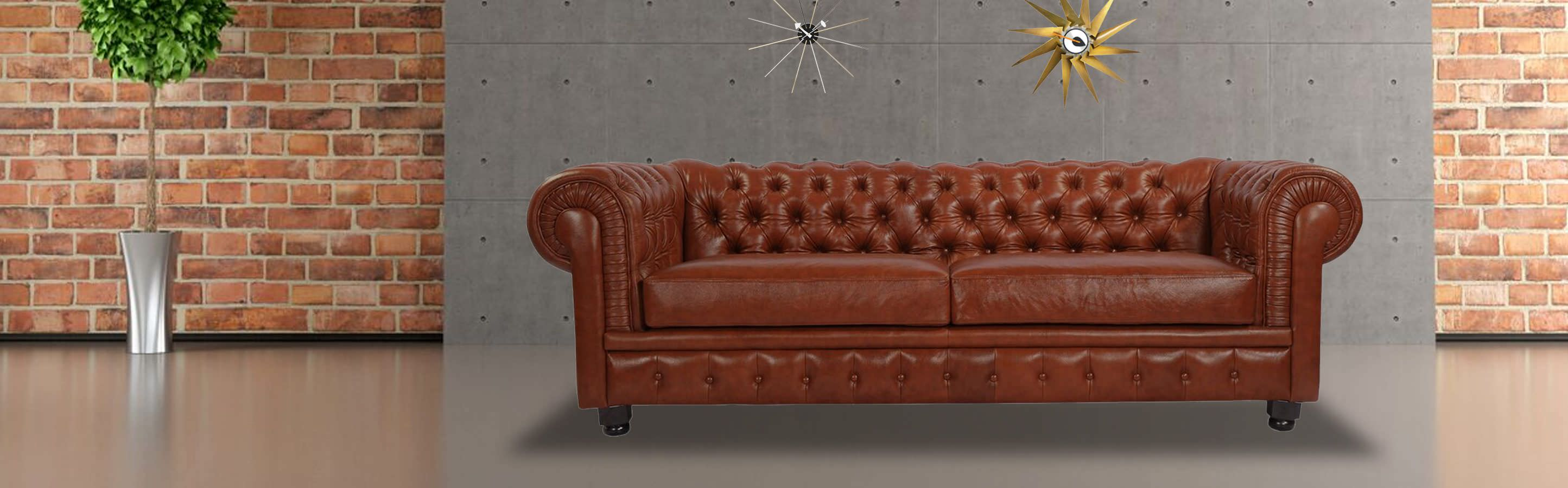 Chesterfield Sofa Chestnut Premium Leather Kar l