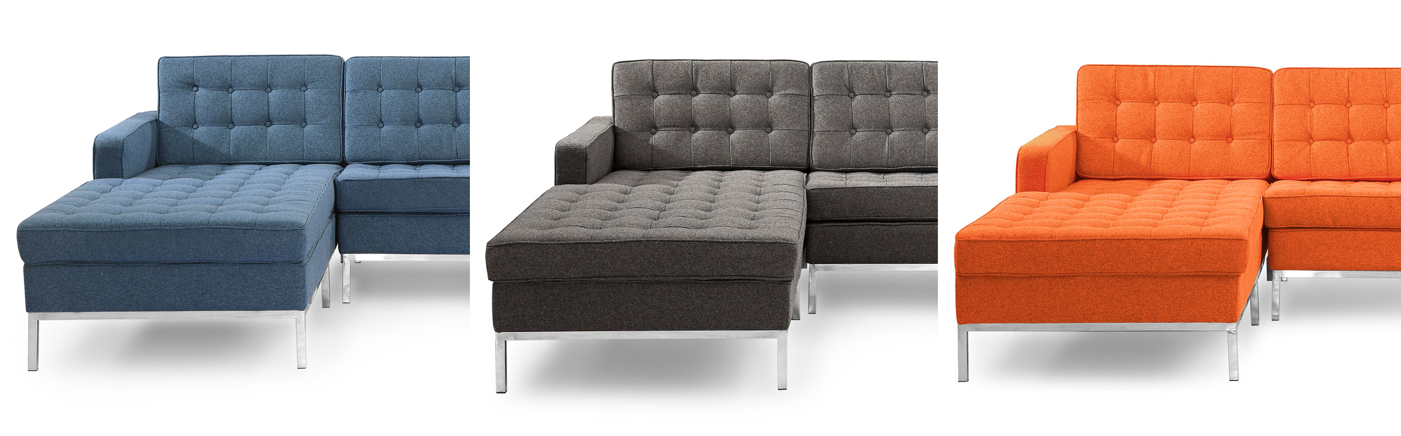Florence Knoll Style chaise sectional left and right facing