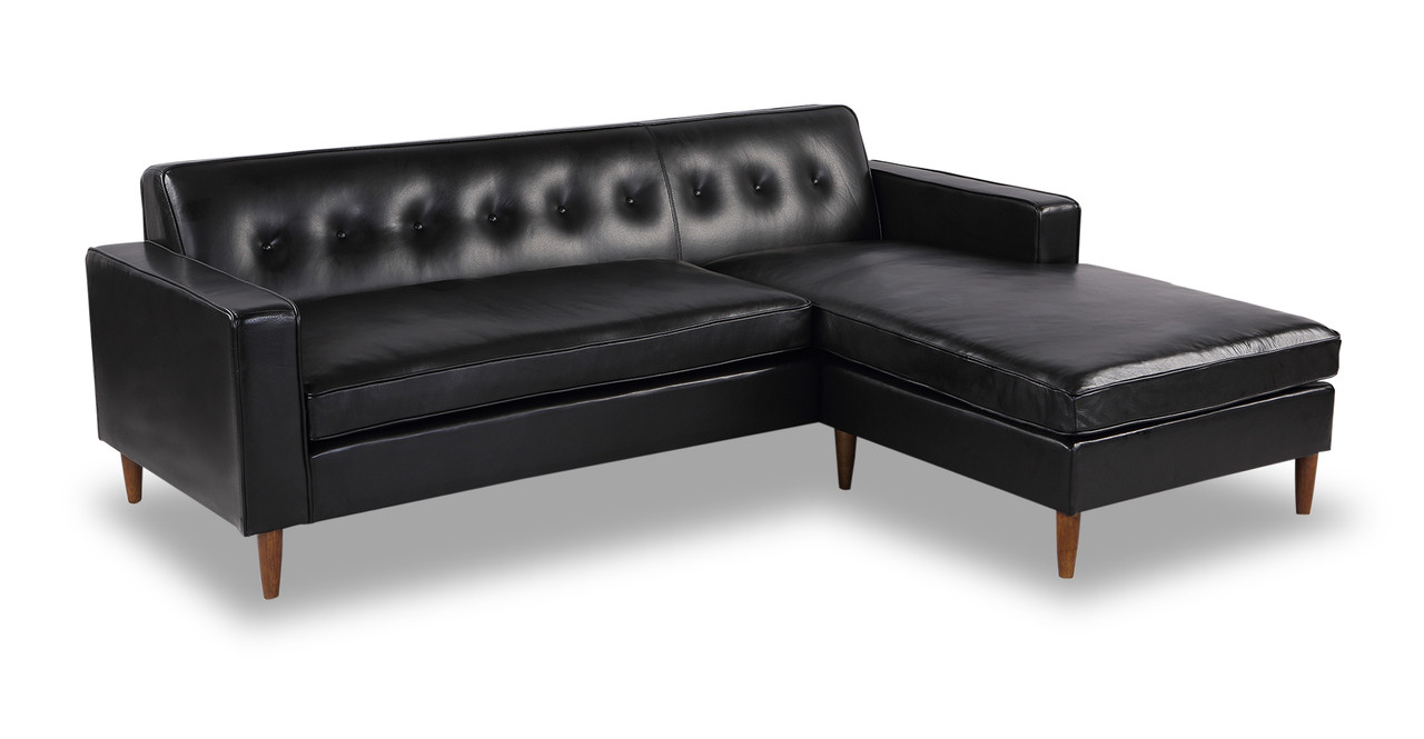 Black sofa sectional vg rz modern black sectional sofa for Black microfiber chaise