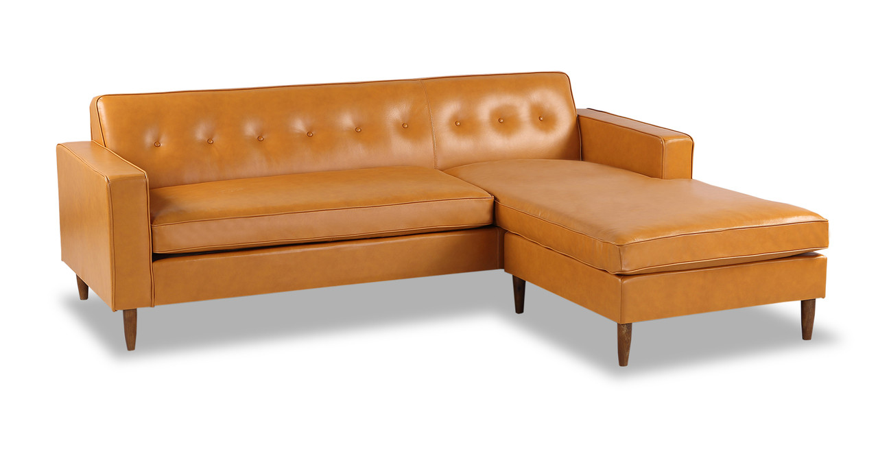 Eleanor Sofa Sectional Right Chaise Tan Aniline Leather Kardiel ~ Tan Leather Mid Century Sofa