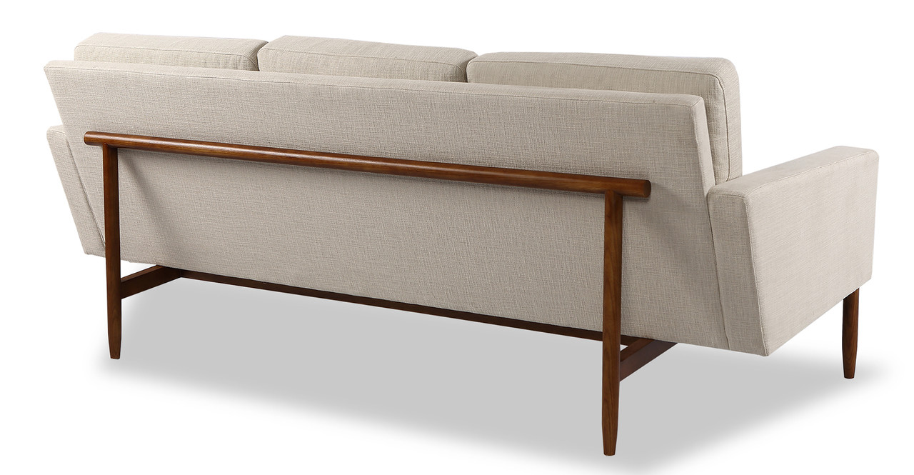 the sofa is architecturally suspended within a solid wood frame base and back frame the body design of the platform sofa is minimal and sleek with clean - Wood Frame Sofa
