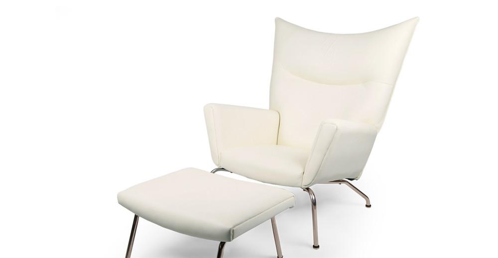 Wegner Wing Chair Amp Ottoman Cream White Premium Leather
