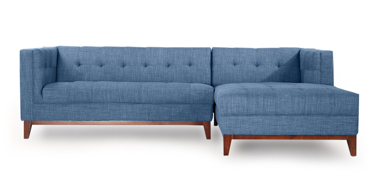 Harrison Chaise Sectional Right Face Blue Curacao Kardiel