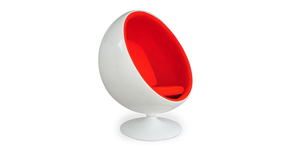 Ball Chair White Orange Kardiel