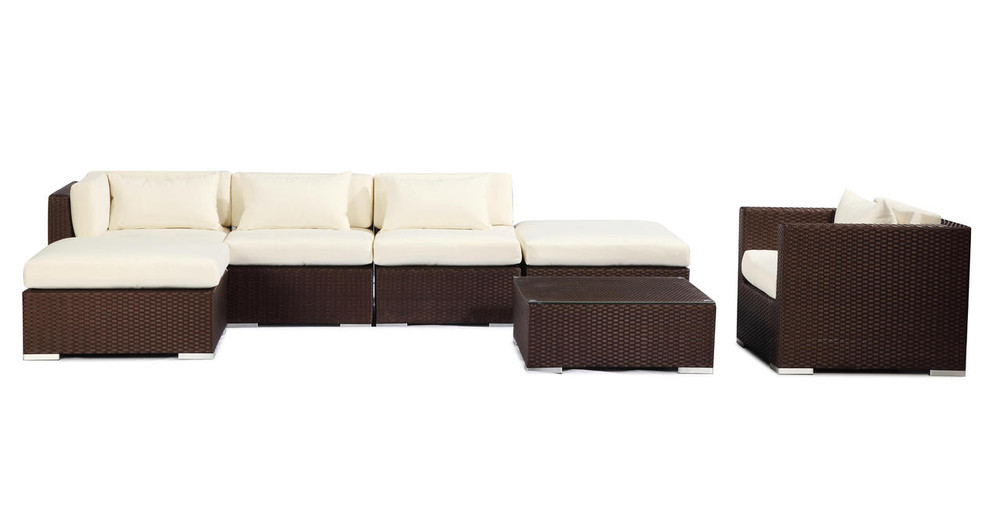Lanai 7 pc outdoor espresso wicker ivory kardiel for Outdoor lanai furniture