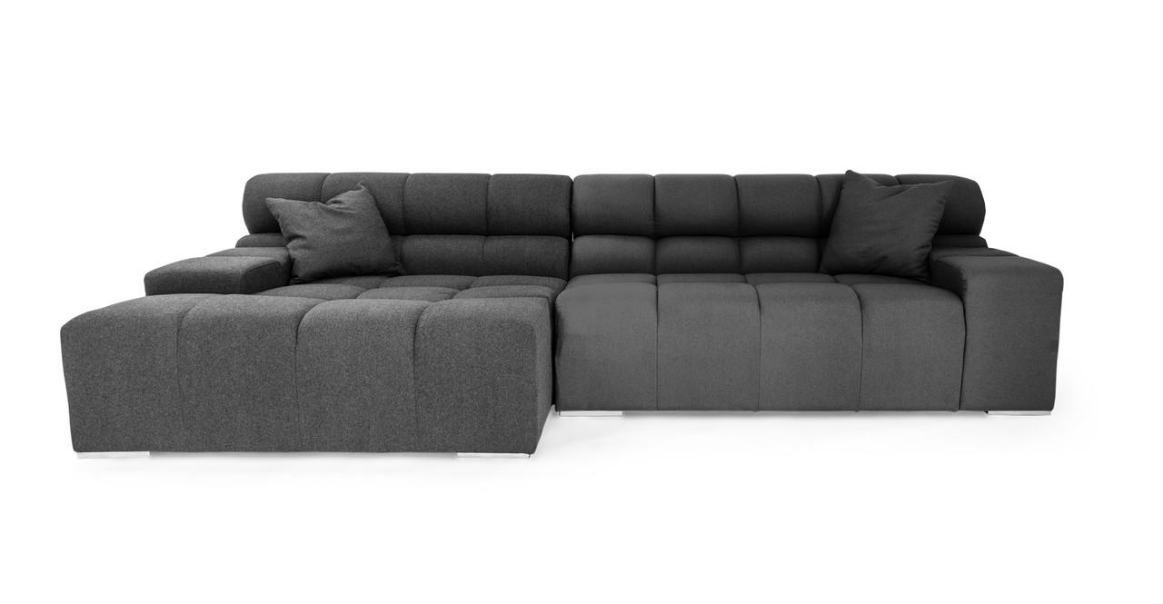 Cubix Modern Modular Sofa Sectional Left, Charcoal Cashmere
