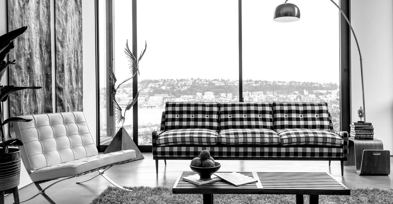 Elektra Sofa, Windowpane Plaid - Kardiel