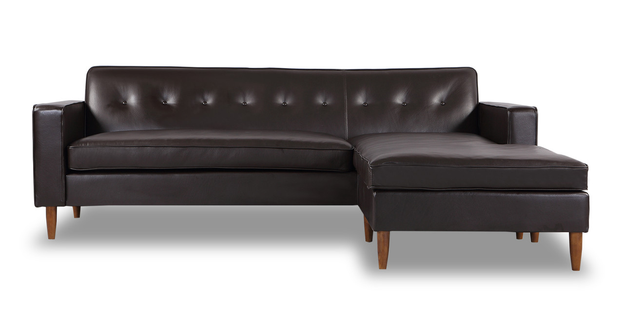 Eleanor sofa sectional right chaise brown aniline leather for Brown leather chaise end sofa