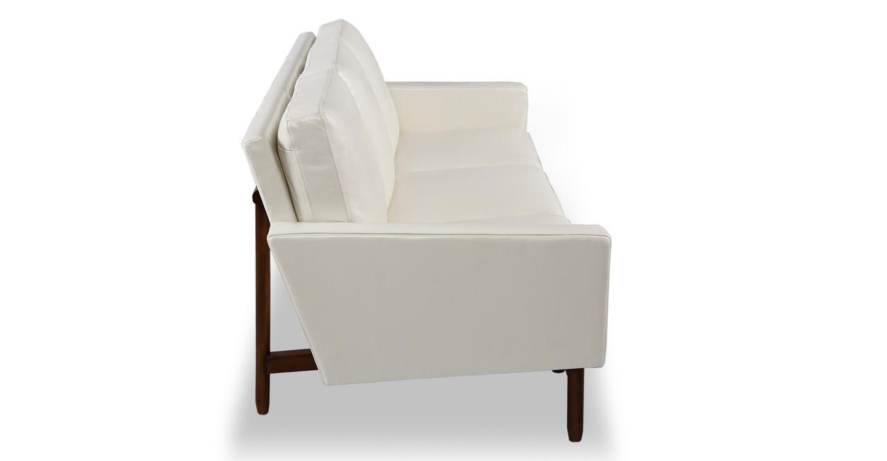 Stilt Danish Mod Sofa, White Aniline Leather/Walnut - Kardiel