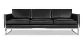 Superior Amsterdam Sofa, Black Aniline Leather