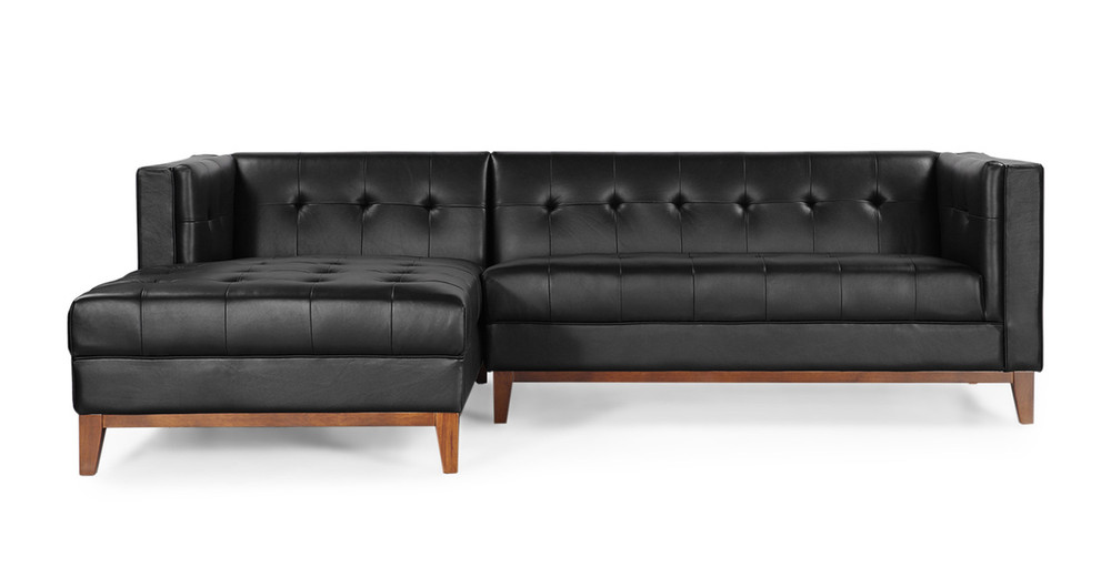 Harrison Chaise Sectional Left Black Premium Leather
