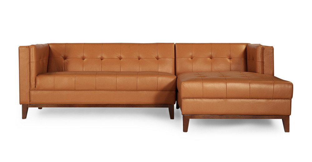 Harrison Chaise Sectional Right Saddle Brown Premium