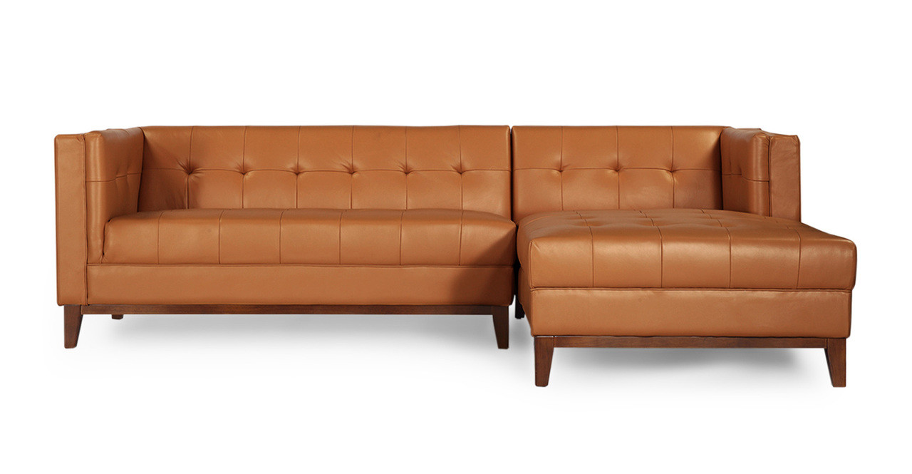 Harrison chaise sectional right saddle brown premium for Brown leather chaise end sofa