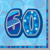 60th Birthday Blue Glitz Napkins