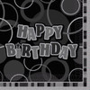 Happy Birthday Black Glitz Napkins