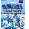 80th Birthday Blue Glitz Foil Confetti