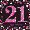 21st Birthday Pink Sparkles Napkins