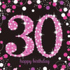 30th Birthday Pink Sparkles Napkins