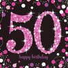 50th Birthday Pink Sparkles Napkins
