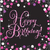Happy Birthday Pink Sparkles Napkins