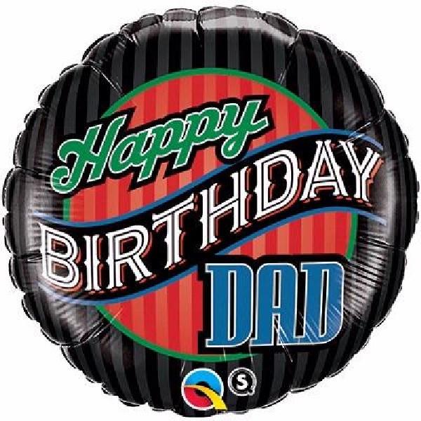 "Happy Birthday Dad Stripes 18"" Foil Balloon"