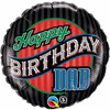 "Happy Birthday Dad Stripes 18"" Foil Balloon"