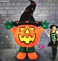 Halloween 3m Standing Pumpkin With Hat Hire