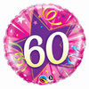 60th Birthday Shining Star Hot Pink 18 Inch Foil Balloon