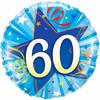 60th Birthday Shining Star Bright Blue 18 Inch Foil Balloon